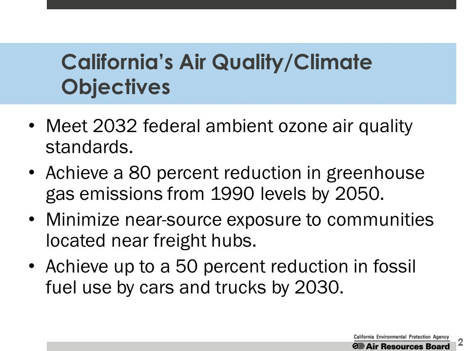 California's Air Quality/Climate Objectives 2 Meet 2032 federal ambient ozone air quality standards.