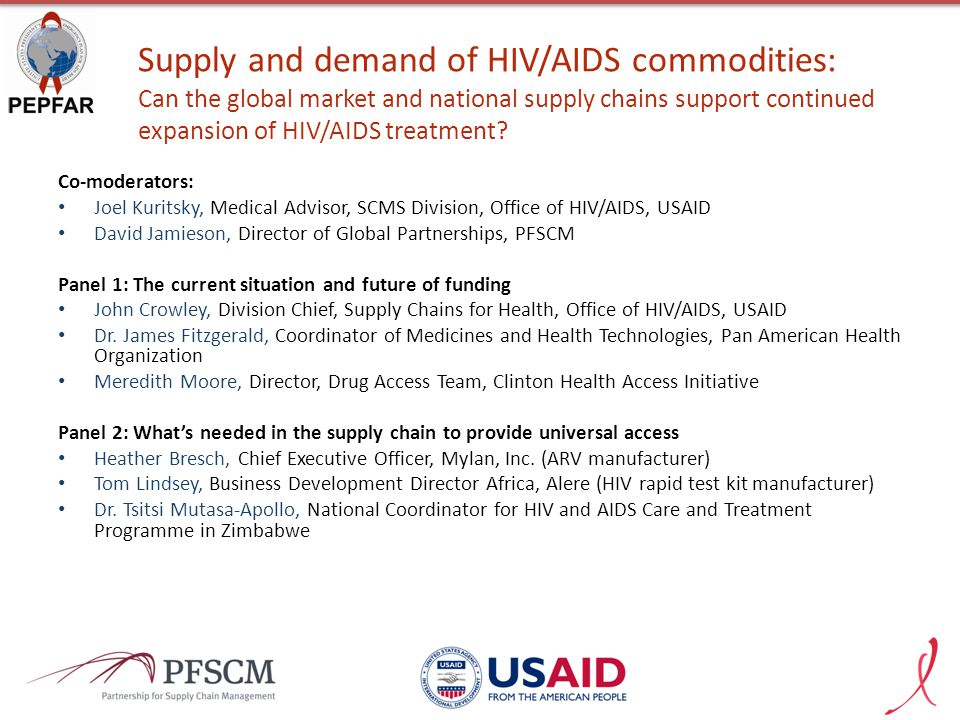 Supply and demand of HIV/AIDS commodities: Can the global market and national supply chains support continued expansion of HIV/AIDS treatment? Co-mode
