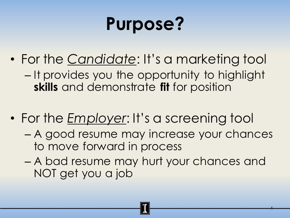 Resume Facts A recruiter typically spends less than 30 seconds reviewing a resume 1 job could equate to 100's of resumes At least half of resumes received are not viewed as qualified (Careerbuilder.com survey) There is no perfect format – Every resume is different 5