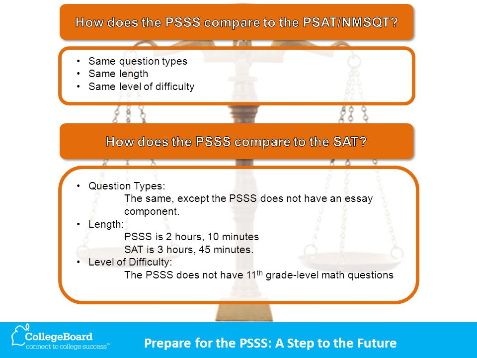 Prepare for the PSSS: A Step to the Future Question Types: The same, except the PSSS does not have an essay component.