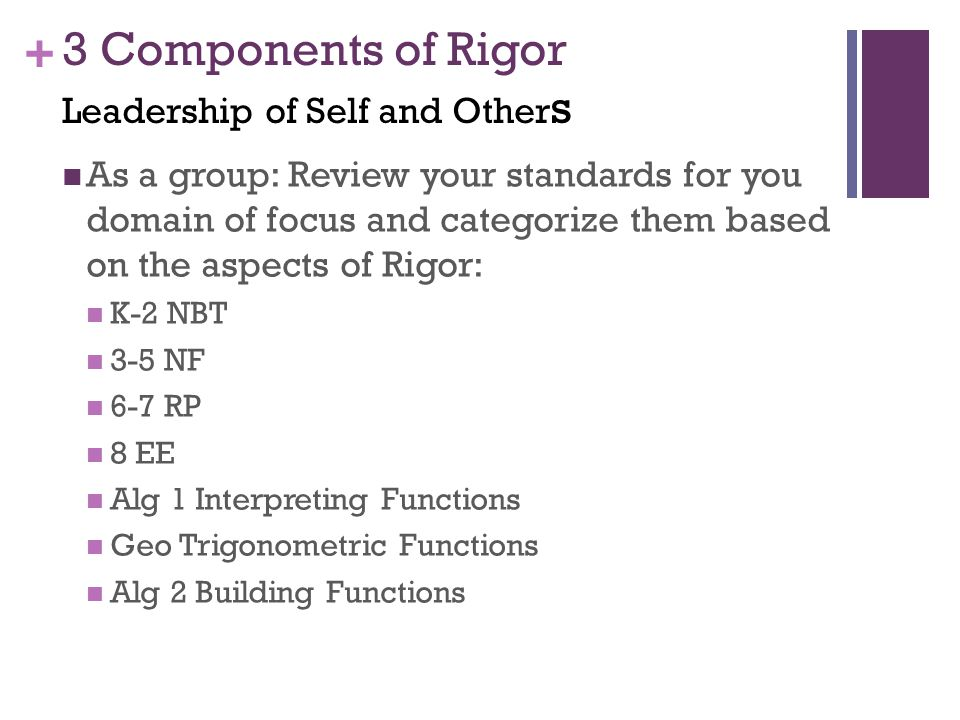 + 3 Components of Rigor Leadership of Self and Other s As a group: Review your standards for you domain of focus and categorize them based on the aspects of Rigor: K-2 NBT 3-5 NF 6-7 RP 8 EE Alg 1 Interpreting Functions Geo Trigonometric Functions Alg 2 Building Functions