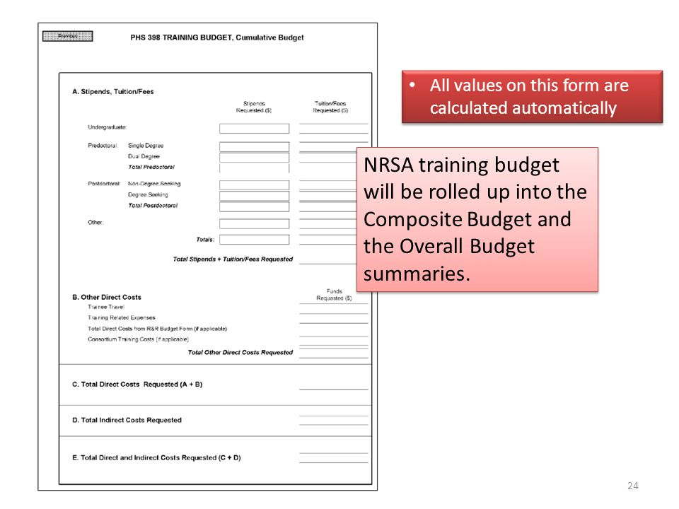 24 All values on this form are calculated automatically NRSA training budget will be rolled up into the Composite Budget and the Overall Budget summaries.
