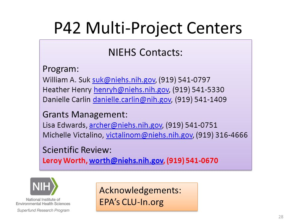 NIEHS Contacts: Program: William A.
