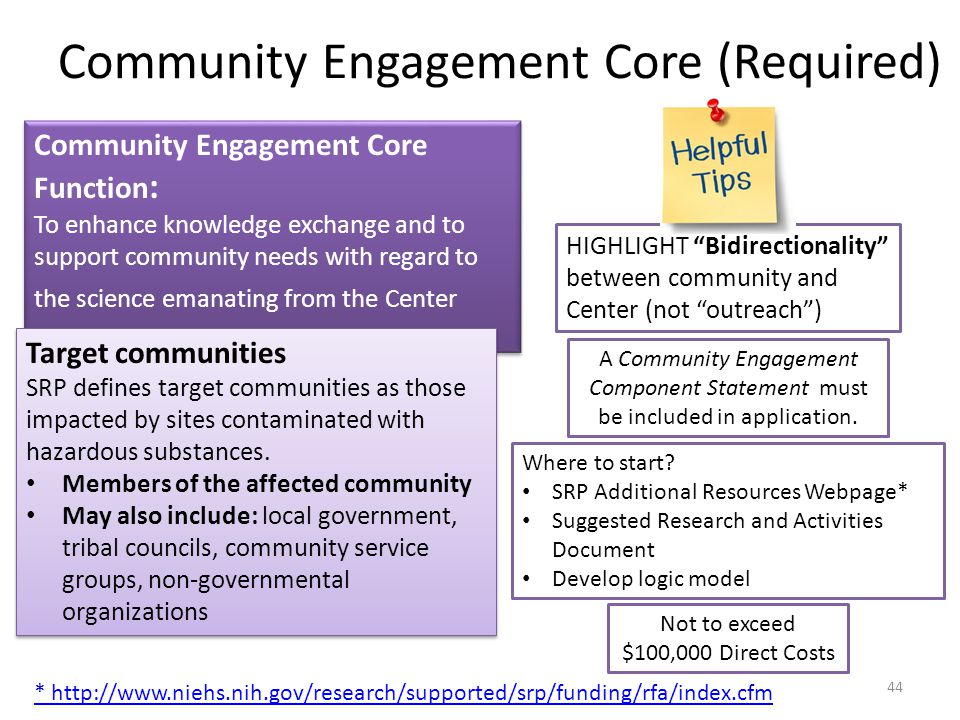 Community Engagement Core Function : To enhance knowledge exchange and to support community needs with regard to the science emanating from the Center Community Engagement Core Function : To enhance knowledge exchange and to support community needs with regard to the science emanating from the Center Community Engagement Core (Required) Target communities SRP defines target communities as those impacted by sites contaminated with hazardous substances.