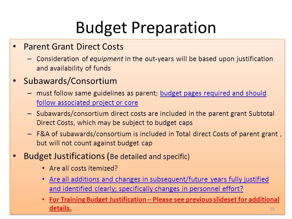 Budget Preparation 65