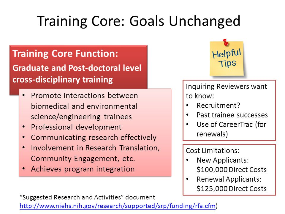 Training Core Function: Graduate and Post-doctoral level cross-disciplinary training Training Core Function: Graduate and Post-doctoral level cross-disciplinary training Training Core: Goals Unchanged Cost Limitations: New Applicants: $100,000 Direct Costs Renewal Applicants: $125,000 Direct Costs Promote interactions between biomedical and environmental science/engineering trainees Professional development Communicating research effectively Involvement in Research Translation, Community Engagement, etc.