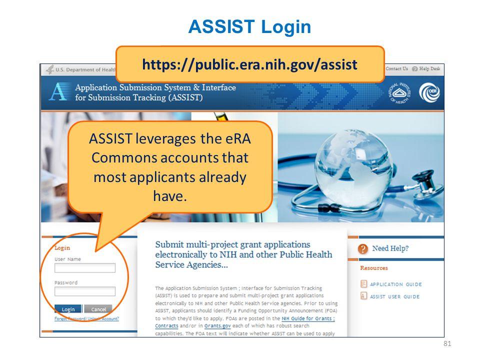 ASSIST Login 81 https://public.era.nih.gov/assist ASSIST leverages the eRA Commons accounts that most applicants already have.