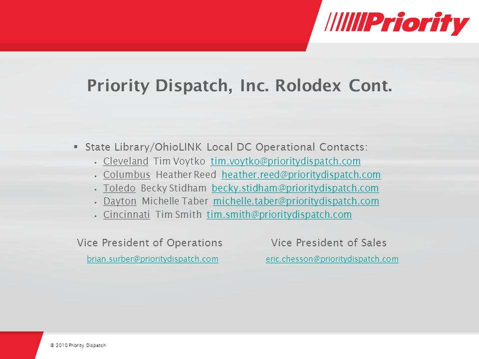 © 2010 Priority Dispatch Priority Dispatch, Inc. Rolodex Cont.
