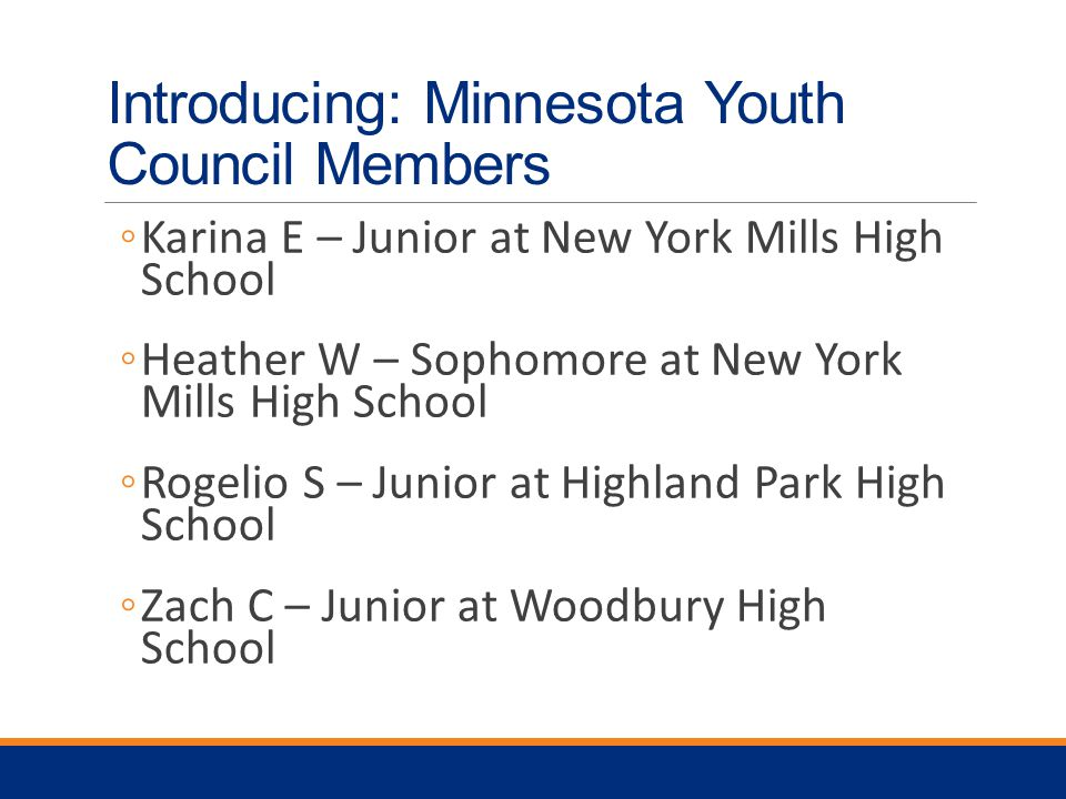 Introducing: Minnesota Youth Council Members ◦Karina E – Junior at New York Mills High School ◦Heather W – Sophomore at New York Mills High School ◦Rogelio S – Junior at Highland Park High School ◦Zach C – Junior at Woodbury High School