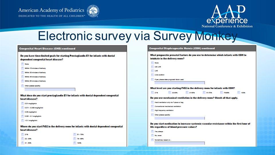 Electronic survey via Survey Monkey