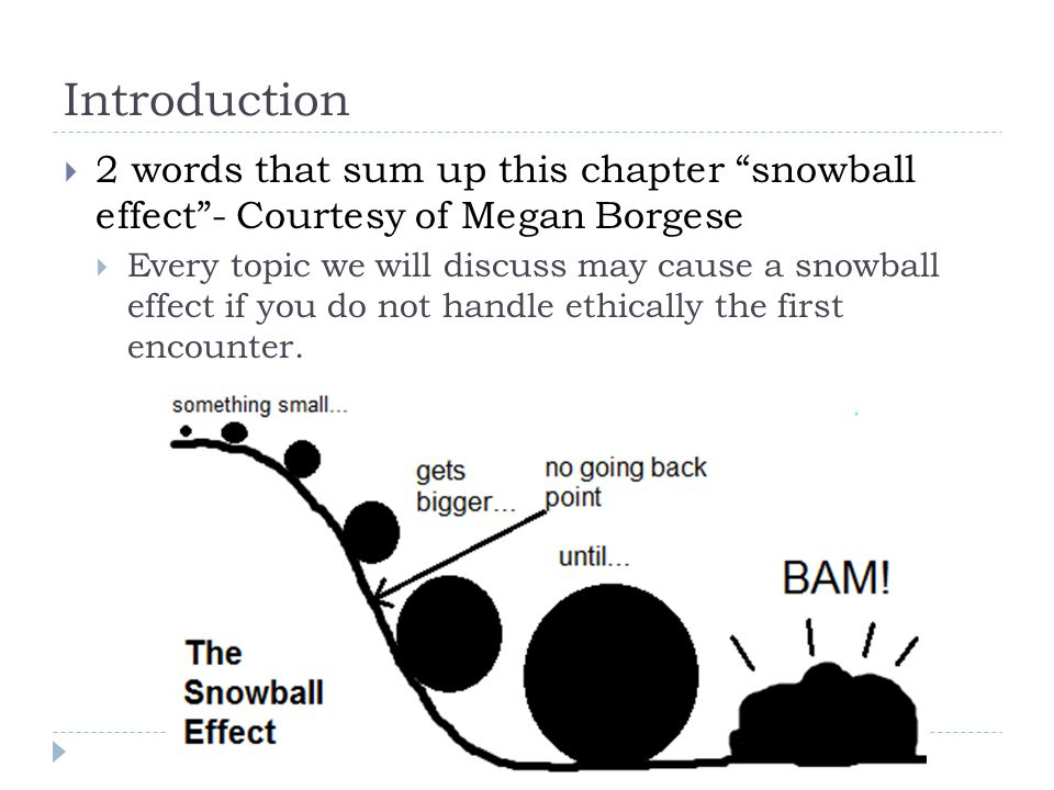 Introduction  2 words that sum up this chapter snowball effect - Courtesy of Megan Borgese  Every topic we will discuss may cause a snowball effect if you do not handle ethically the first encounter.