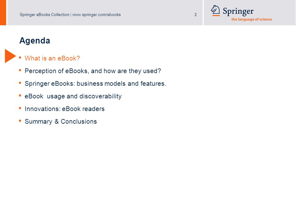Springer eBooks Collection | www.springer.com/ebooks13 eBook Collection Springer's eBook Collection includes the following content types: – eBooks Textbooks, Monographs, Atlases, and more – eReference Works Handbooks and Major Reference Works – eBook Series Organized into 12 Subject Collections ~ Available on SpringerLink