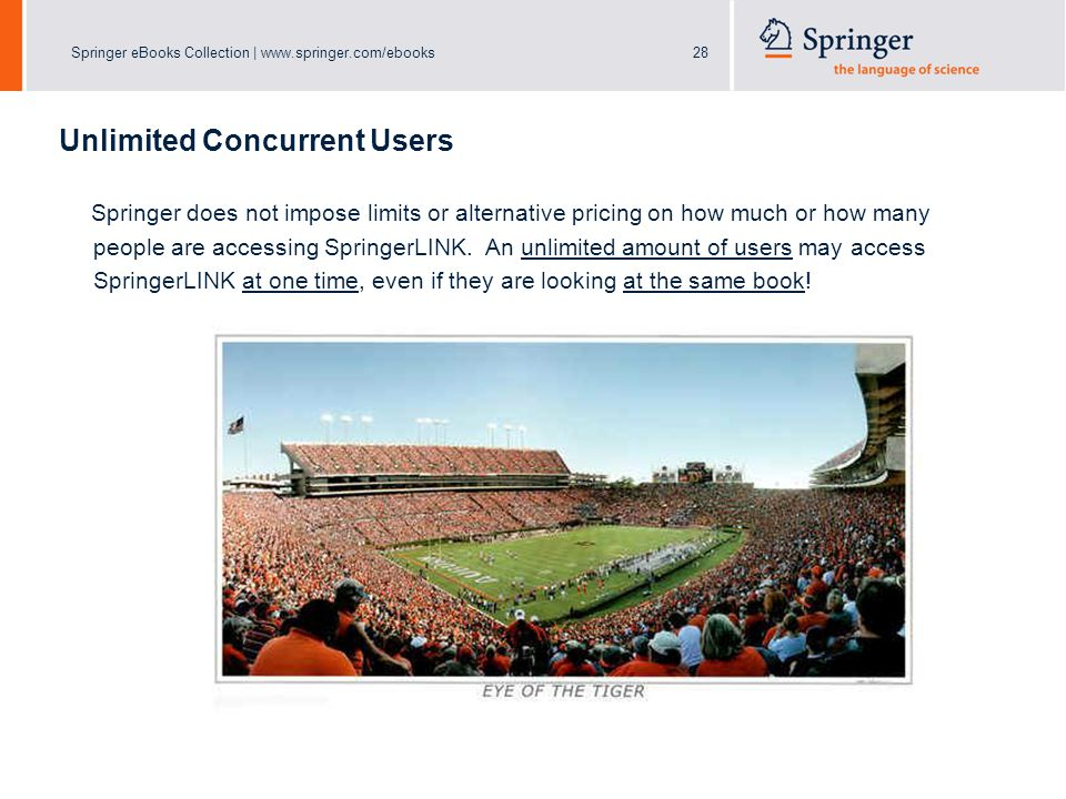 Springer eBooks Collection | www.springer.com/ebooks28 Unlimited Concurrent Users Springer does not impose limits or alternative pricing on how much or how many people are accessing SpringerLINK.
