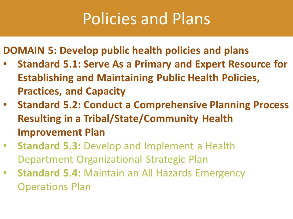 DOMAIN 5: Develop public health policies and plans Standard 5.1: Serve As a Primary and Expert Resource for Establishing and Maintaining Public Health Policies, Practices, and Capacity Standard 5.2: Conduct a Comprehensive Planning Process Resulting in a Tribal/State/Community Health Improvement Plan Standard 5.3: Develop and Implement a Health Department Organizational Strategic Plan Standard 5.4: Maintain an All Hazards Emergency Operations Plan Policies and Plans