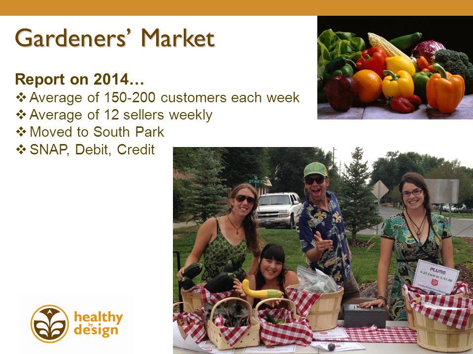 Report on 2014…  Average of 150-200 customers each week  Average of 12 sellers weekly  Moved to South Park  SNAP, Debit, Credit Gardeners' Market