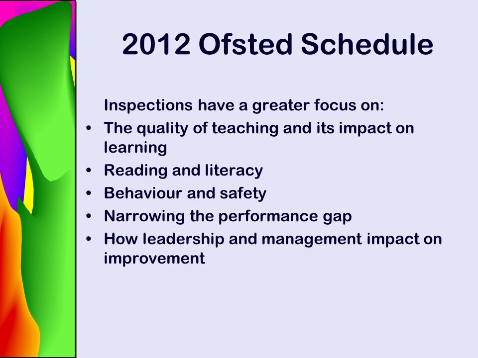2012 Ofsted Schedule Inspections have a greater focus on: The quality of teaching and its impact on learning Reading and literacy Behaviour and safety
