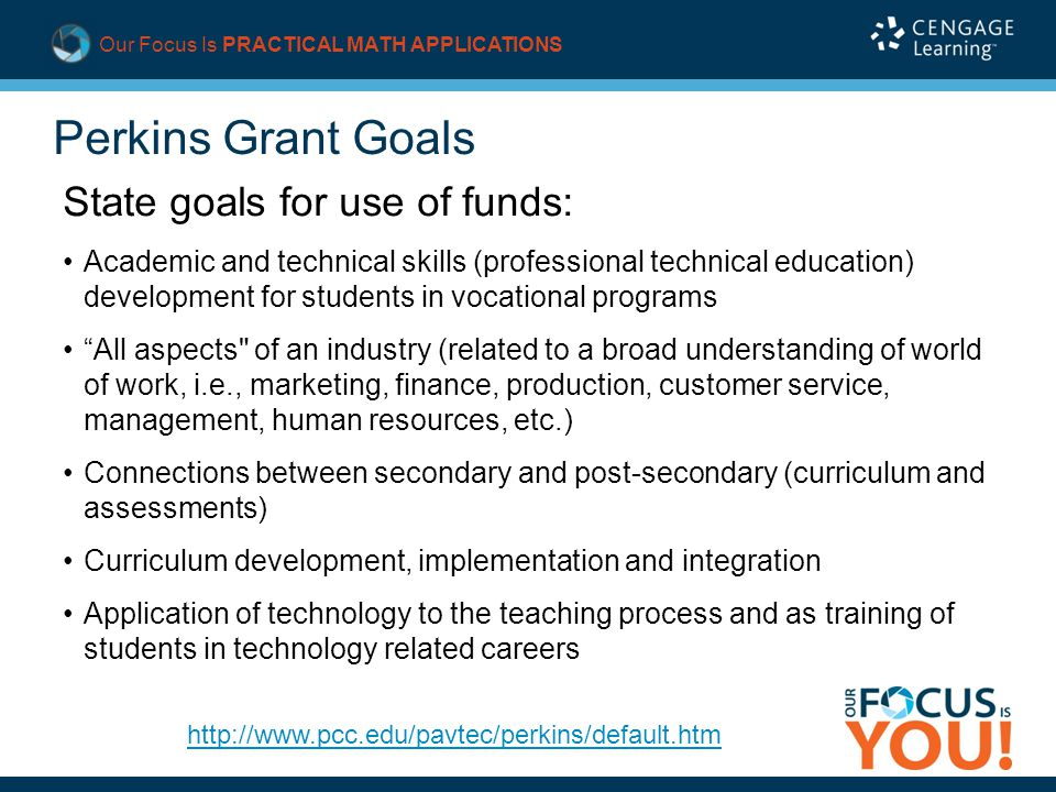 Our Focus Is PRACTICAL MATH APPLICATIONS Perkins Grant Goals State goals for use of funds: Academic and technical skills (professional technical education) development for students in vocational programs All aspects of an industry (related to a broad understanding of world of work, i.e., marketing, finance, production, customer service, management, human resources, etc.) Connections between secondary and post-secondary (curriculum and assessments) Curriculum development, implementation and integration Application of technology to the teaching process and as training of students in technology related careers http://www.pcc.edu/pavtec/perkins/default.htm