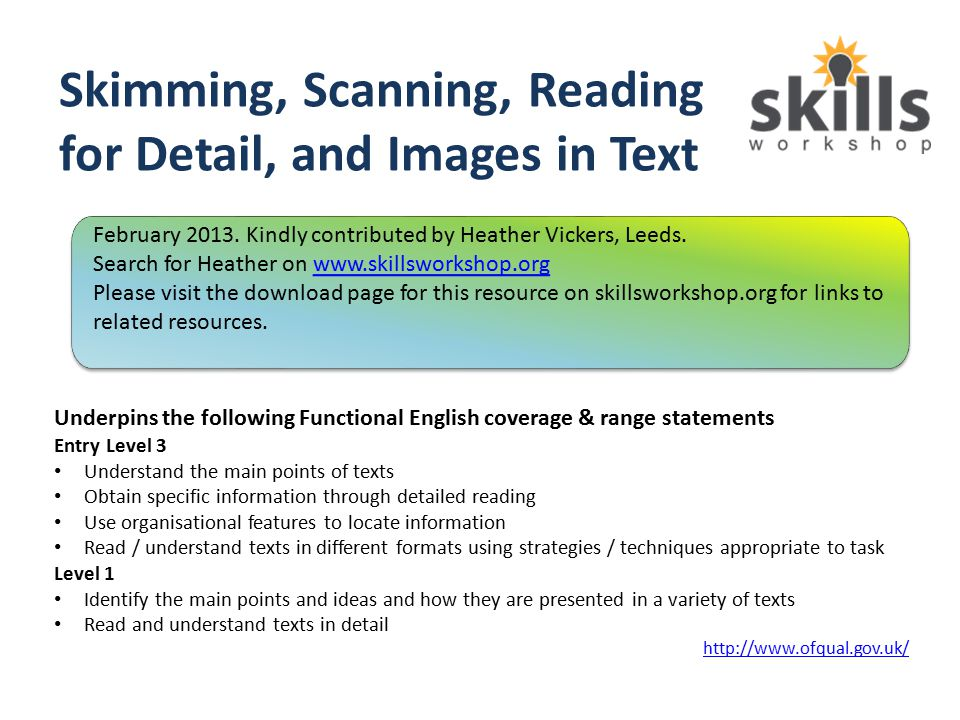 Skimming, Scanning, Reading for Detail, and Images in Text Underpins the following Functional English coverage & range statements Entry Level 3 Unders