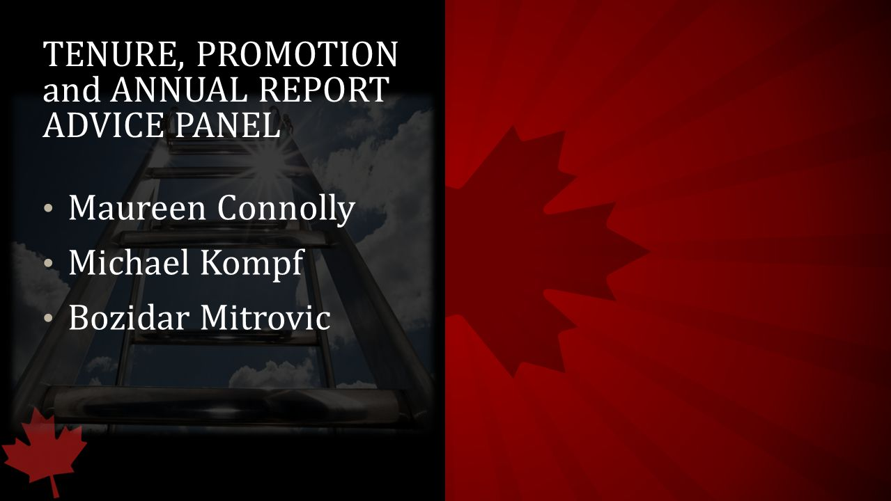 TENURE, PROMOTION and ANNUAL REPORT ADVICE PANEL Maureen Connolly Michael Kompf Bozidar Mitrovic