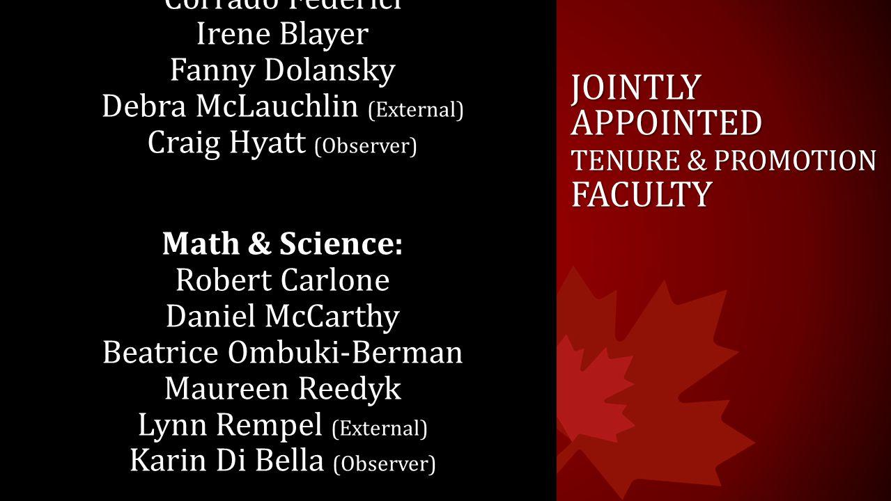 JOINTLY APPOINTED TENURE & PROMOTION FACULTY Humanities: Jean Bridge Corrado Federici Irene Blayer Fanny Dolansky Debra McLauchlin (External) Craig Hy