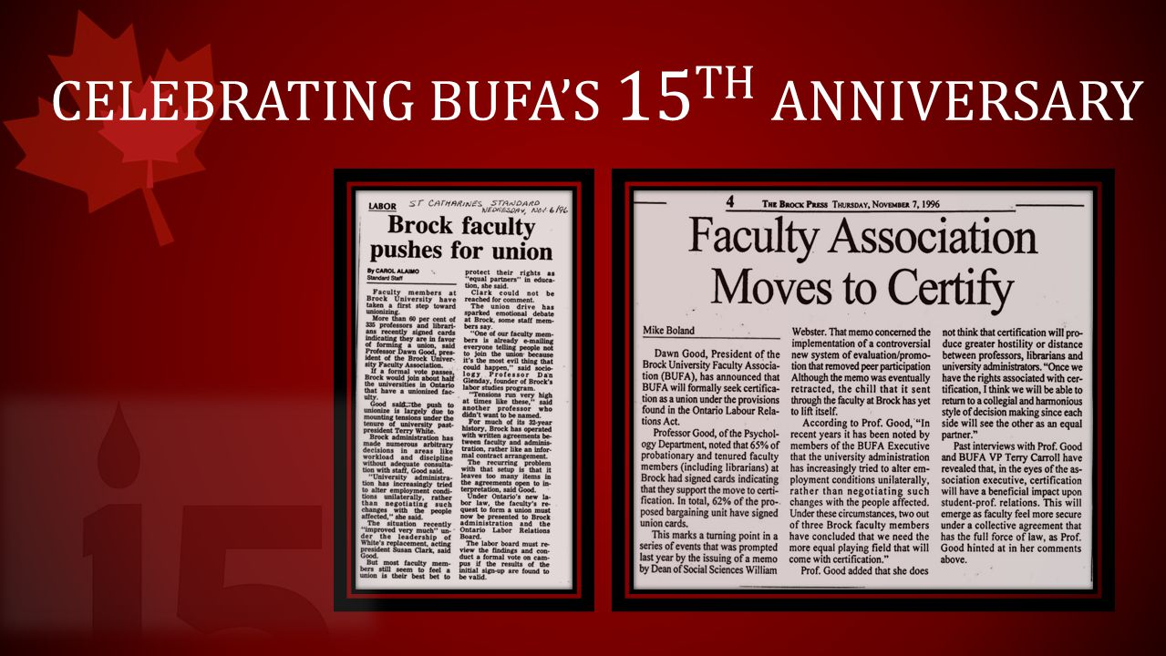 CELEBRATING BUFA'S 15 TH ANNIVERSARY