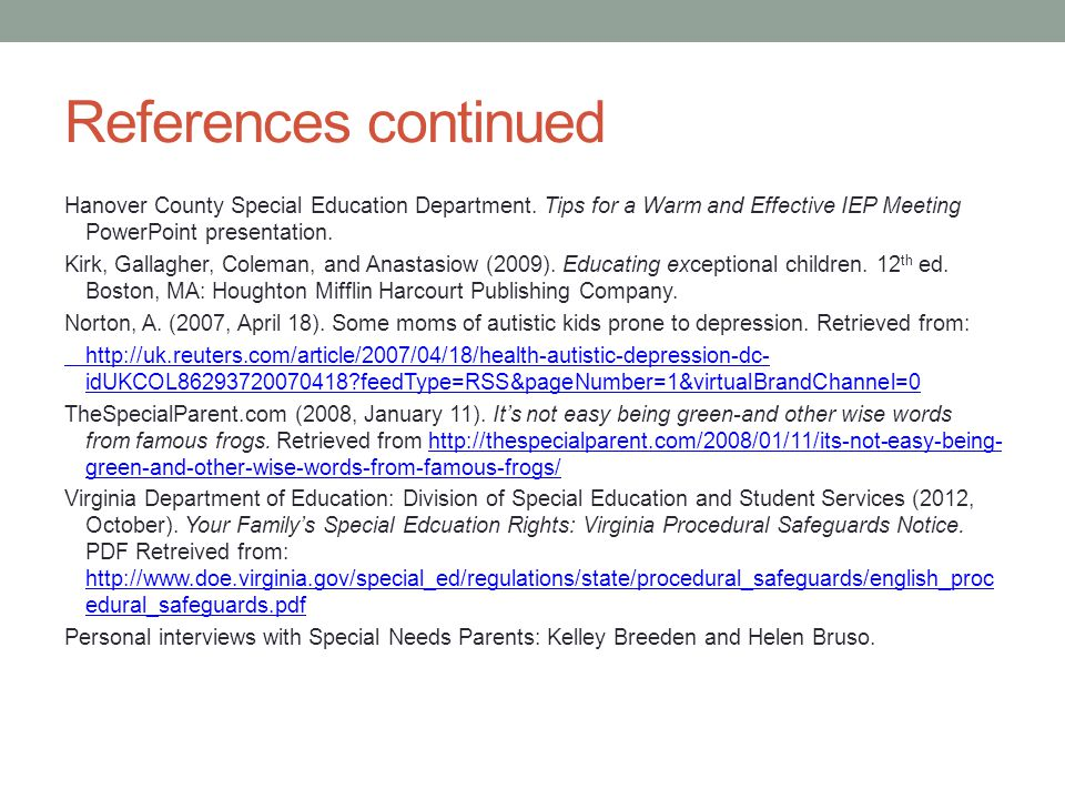 References continued Hanover County Special Education Department.