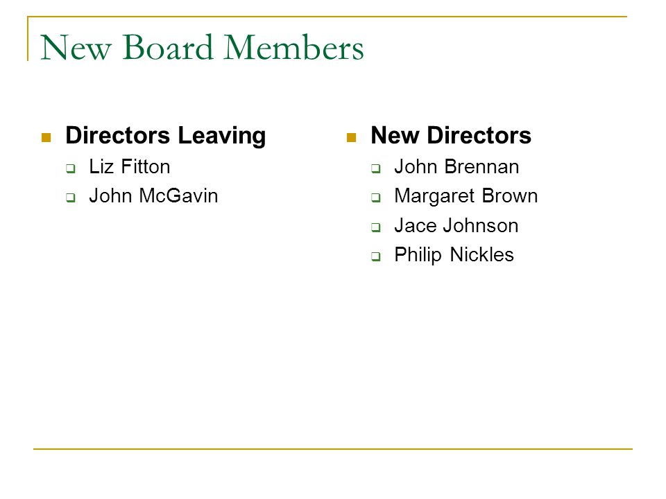 New Board Members Directors Leaving  Liz Fitton  John McGavin New Directors  John Brennan  Margaret Brown  Jace Johnson  Philip Nickles