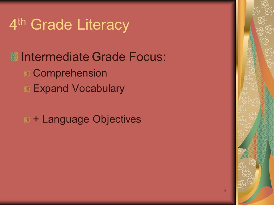 5 4 th Grade Literacy Intermediate Grade Focus: Comprehension Expand Vocabulary + Language Objectives