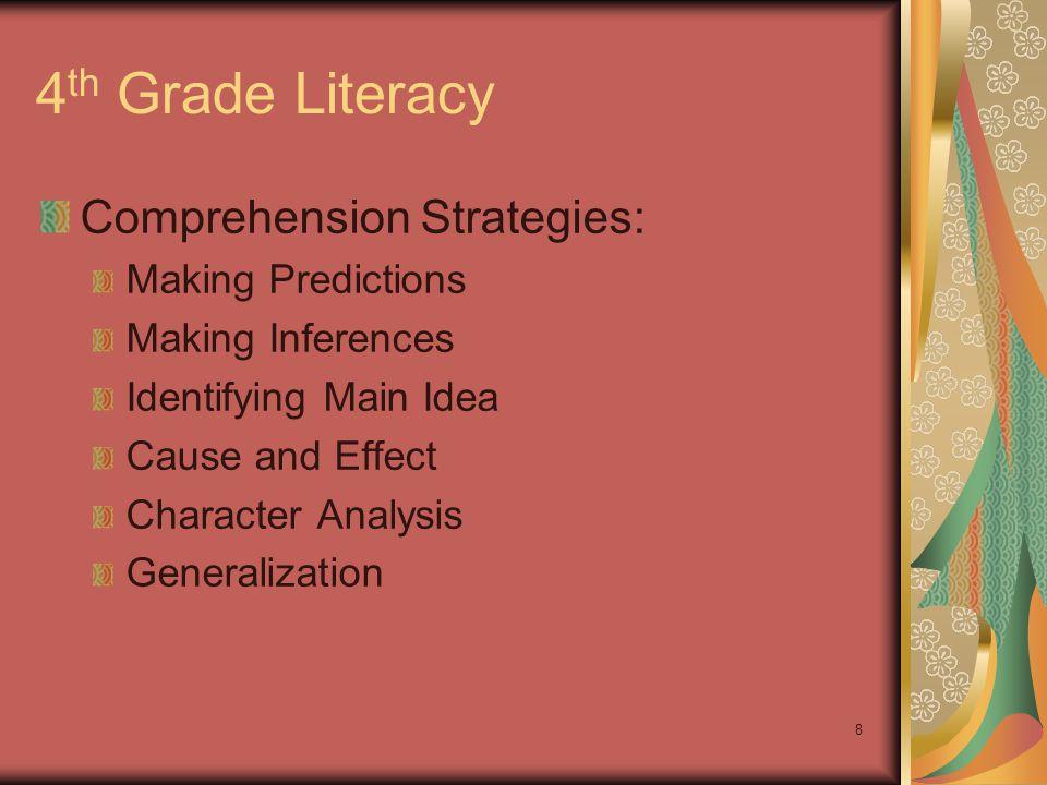 9 4 th Grade Literacy Sentence Frames: Making Predictions Making Inferences