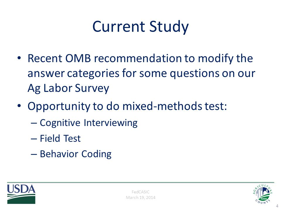 FedCASIC March 19, 2014 Challenges & Limitations of CIs Tested the paper version only Cognitive interviewers with limited training/little or no experience Convenience sample/couldn't sample large ops Must incorporate SOC codes 15