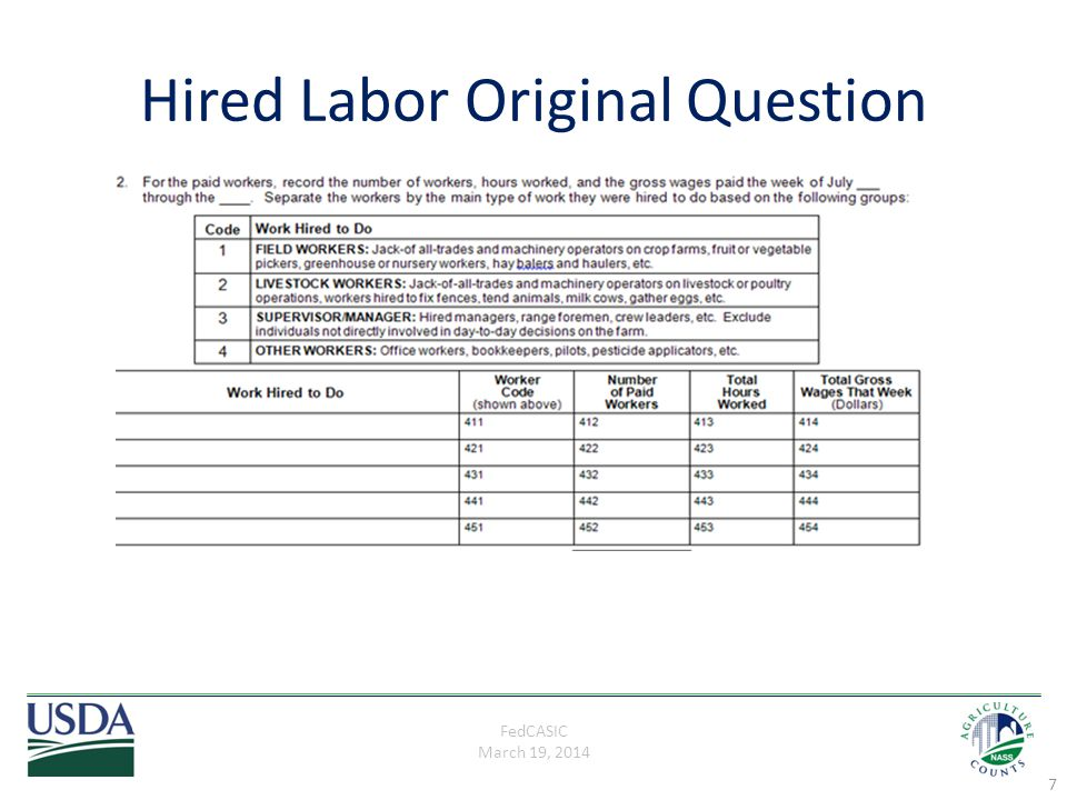 FedCASIC March 19, 2014 Revised Hired Labor Question 8