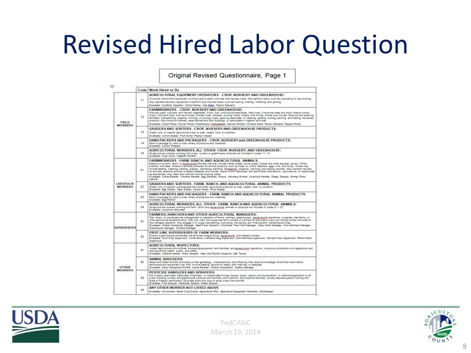 FedCASIC March 19, 2014 Cognitive Interviews Two rounds of testing (n=24) Only tested the questions related to categorizing workers (original and two revised versions) Interviews conducted by 9 interviewers in 6 states 9