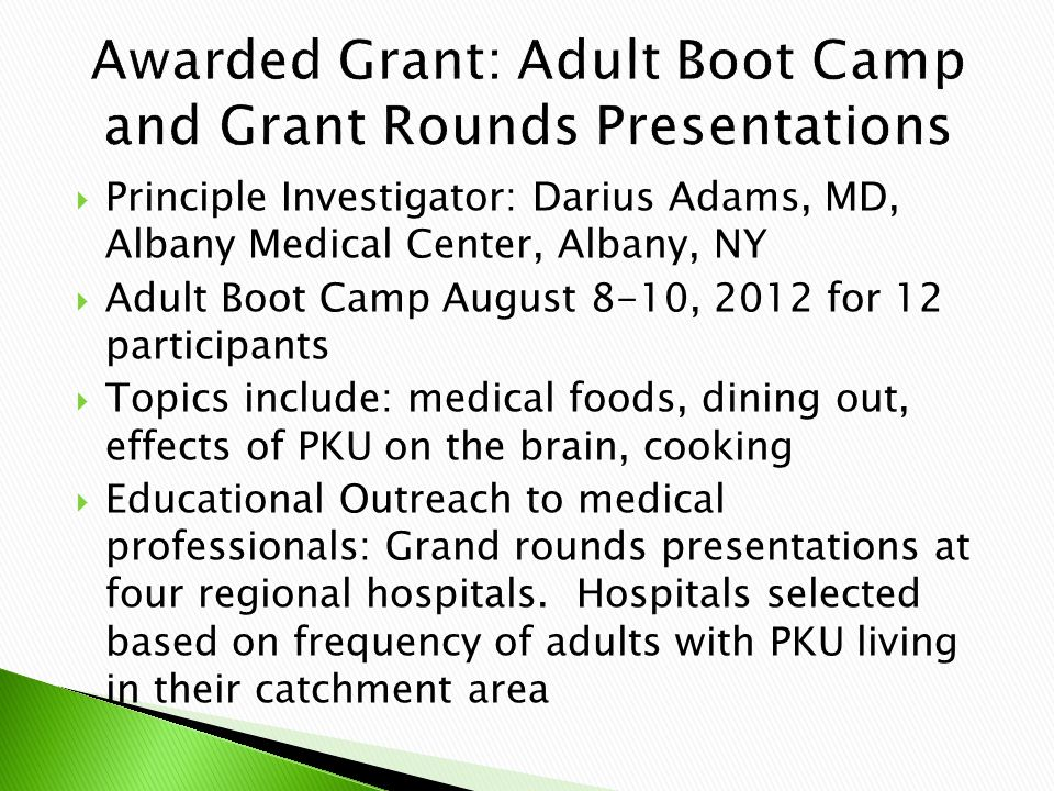  Principle Investigator: Darius Adams, MD, Albany Medical Center, Albany, NY  Adult Boot Camp August 8-10, 2012 for 12 participants  Topics include: medical foods, dining out, effects of PKU on the brain, cooking  Educational Outreach to medical professionals: Grand rounds presentations at four regional hospitals.