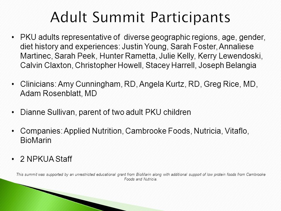 PKU adults representative of diverse geographic regions, age, gender, diet history and experiences: Justin Young, Sarah Foster, Annaliese Martinec, Sarah Peek, Hunter Rametta, Julie Kelly, Kerry Lewendoski, Calvin Claxton, Christopher Howell, Stacey Harrell, Joseph Belangia Clinicians: Amy Cunningham, RD, Angela Kurtz, RD, Greg Rice, MD, Adam Rosenblatt, MD Dianne Sullivan, parent of two adult PKU children Companies: Applied Nutrition, Cambrooke Foods, Nutricia, Vitaflo, BioMarin 2 NPKUA Staff This summit was supported by an unrestricted educational grant from BioMarin along with additional support of low protein foods from Cambrooke Foods and Nutricia.