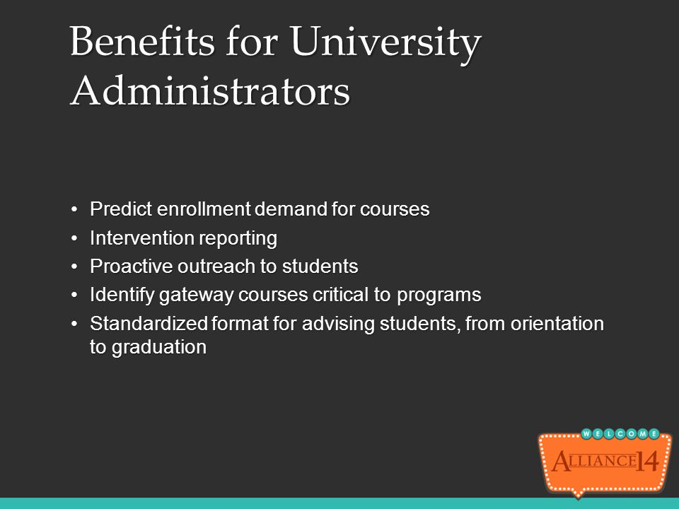 Predict enrollment demand for coursesPredict enrollment demand for courses Intervention reportingIntervention reporting Proactive outreach to students