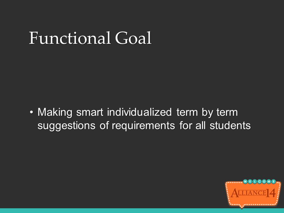 Functional Goal Making smart individualized term by term suggestions of requirements for all studentsMaking smart individualized term by term suggesti