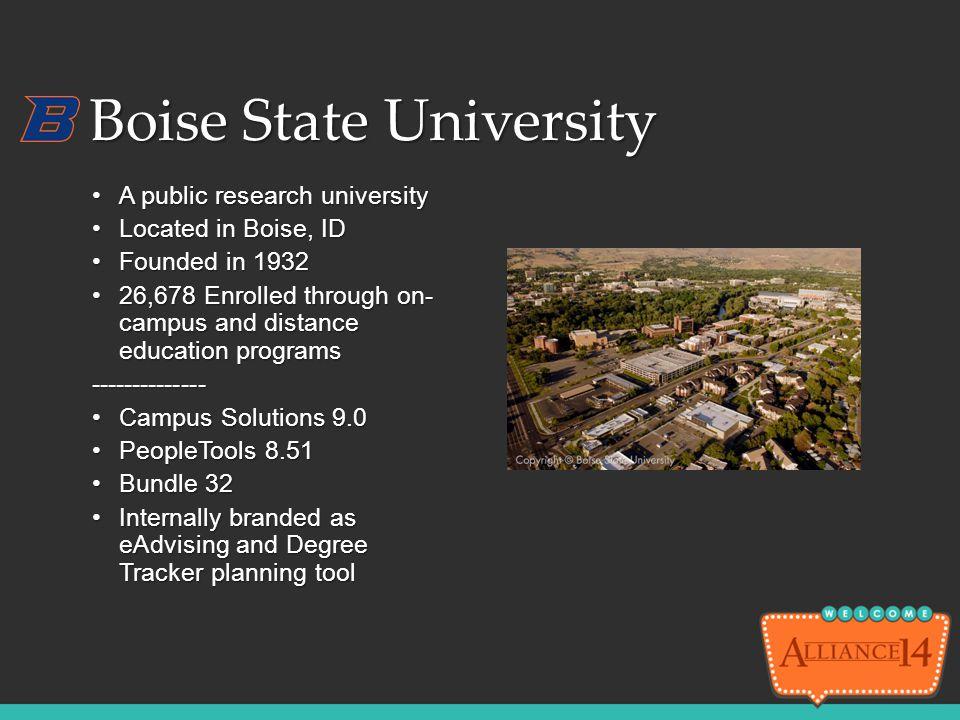 Boise State University A public research universityA public research university Located in Boise, IDLocated in Boise, ID Founded in 1932Founded in 193