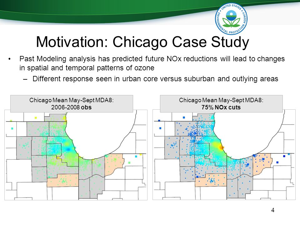 Motivation: Chicago Case Study Past Modeling analysis has predicted future NOx reductions will lead to changes in spatial and temporal patterns of ozone –Different response seen in urban core versus suburban and outlying areas 4 Chicago Mean May-Sept MDA8: 2006-2008 obs Chicago Mean May-Sept MDA8: 75% NOx cuts