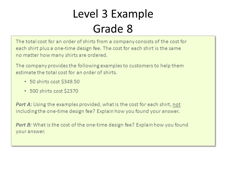 Level 3 Example Grade 8 The total cost for an order of shirts from a company consists of the cost for each shirt plus a one-time design fee.