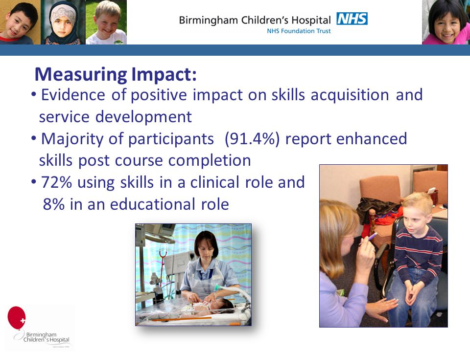 Measuring Impact: Evidence of positive impact on skills acquisition and service development Majority of participants (91.4%) report enhanced skills post course completion 72% using skills in a clinical role and 8% in an educational role