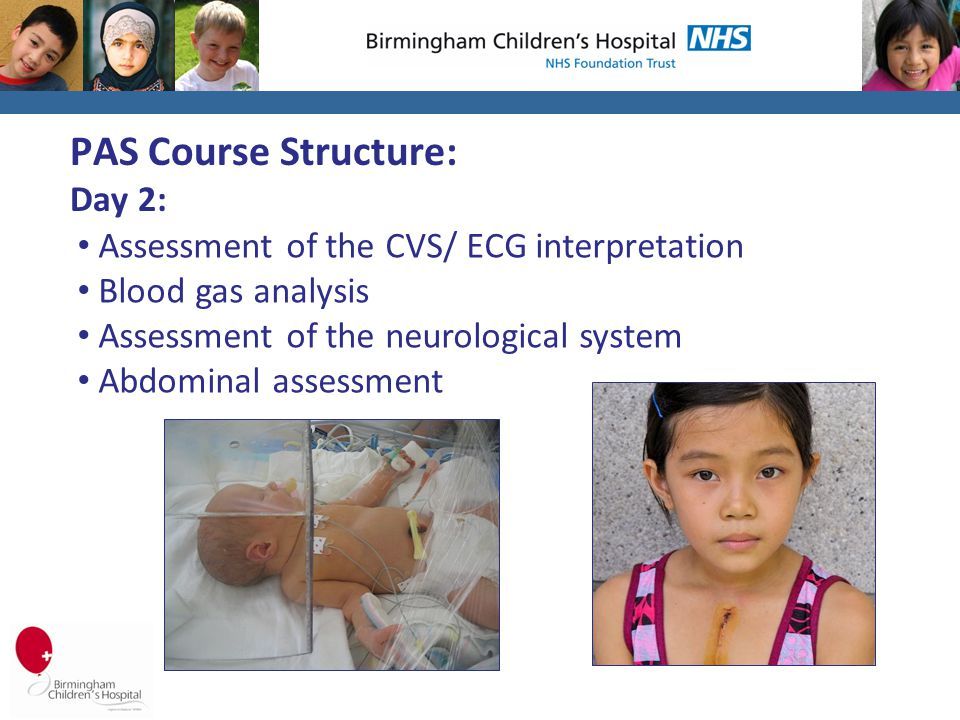 PAS Course Structure: Day 2: Assessment of the CVS/ ECG interpretation Blood gas analysis Assessment of the neurological system Abdominal assessment