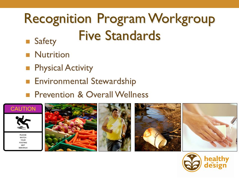 Recognition Program Workgroup Five Standards Safety Nutrition Physical Activity Environmental Stewardship Prevention & Overall Wellness