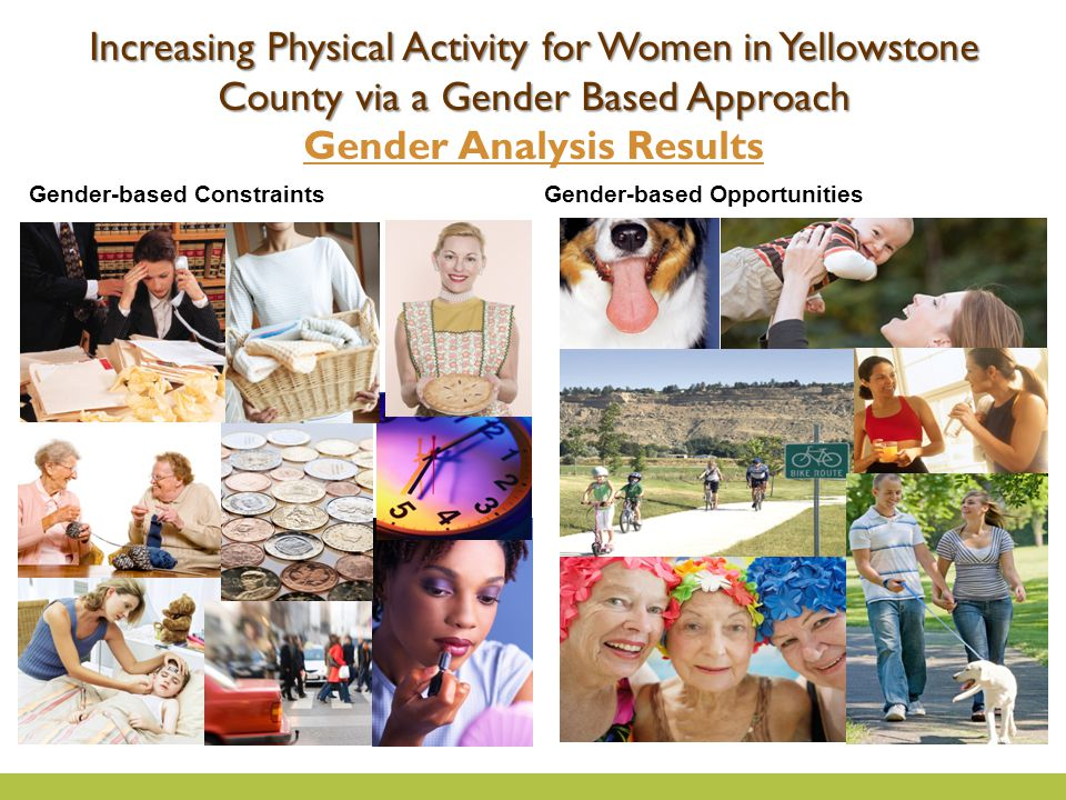Gender-based ConstraintsGender-based Opportunities Increasing Physical Activity for Women in Yellowstone County via a Gender Based Approach Gender Analysis Results