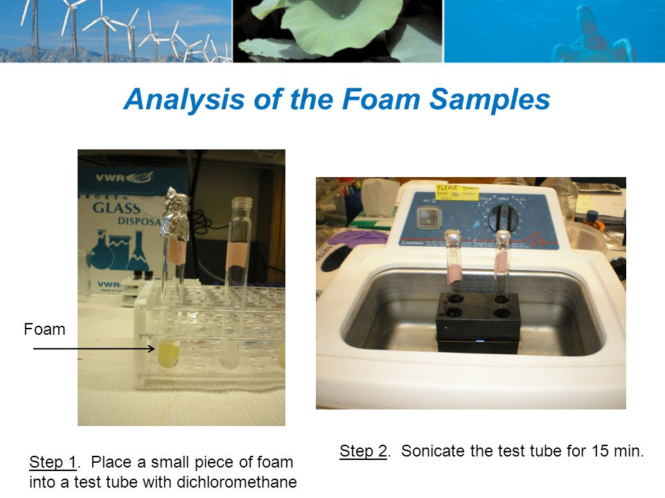 Analysis of the Foam Samples Foam Step 2. Sonicate the test tube for 15 min.