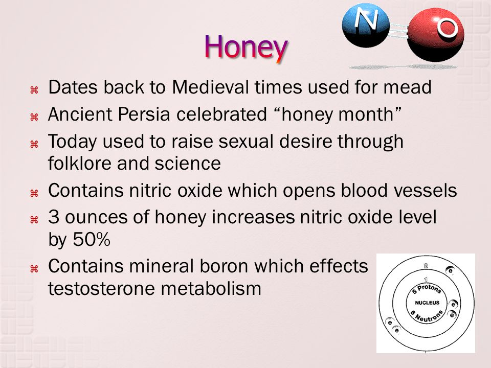 " Dates back to Medieval times used for mead  Ancient Persia celebrated ""honey month""  Today used to raise sexual desire through folklore and scienc"