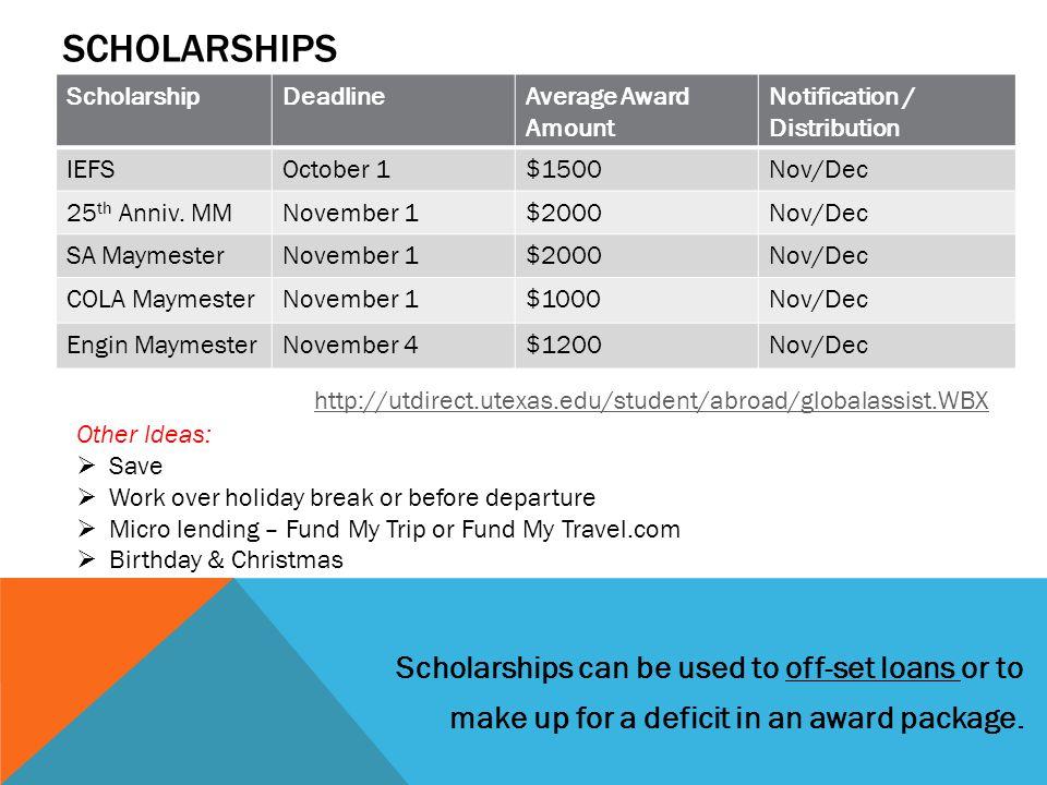 ScholarshipDeadlineAverage Award Amount Notification / Distribution IEFSOctober 1$1500Nov/Dec 25 th Anniv.
