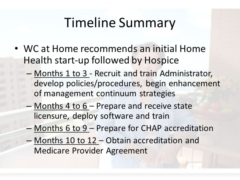 Timeline Summary WC at Home recommends an initial Home Health start-up followed by Hospice – Months 1 to 3 - Recruit and train Administrator, develop policies/procedures, begin enhancement of management continuum strategies – Months 4 to 6 – Prepare and receive state licensure, deploy software and train – Months 6 to 9 – Prepare for CHAP accreditation – Months 10 to 12 – Obtain accreditation and Medicare Provider Agreement