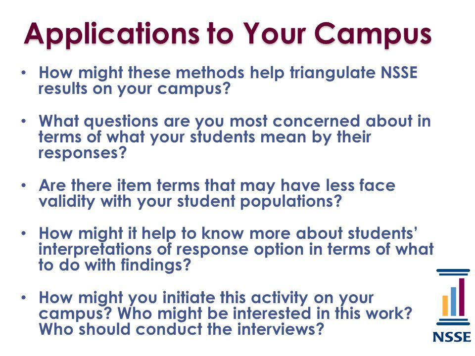 Applications to Your Campus How might these methods help triangulate NSSE results on your campus? What questions are you most concerned about in terms