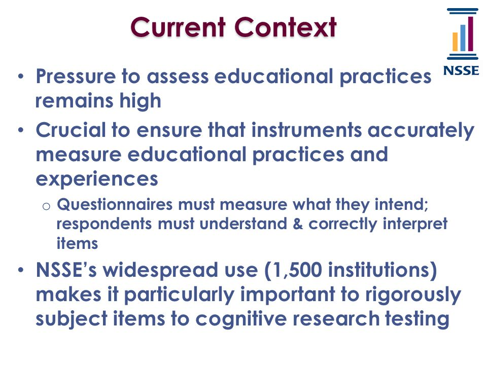 Current Context Pressure to assess educational practices remains high Crucial to ensure that instruments accurately measure educational practices and