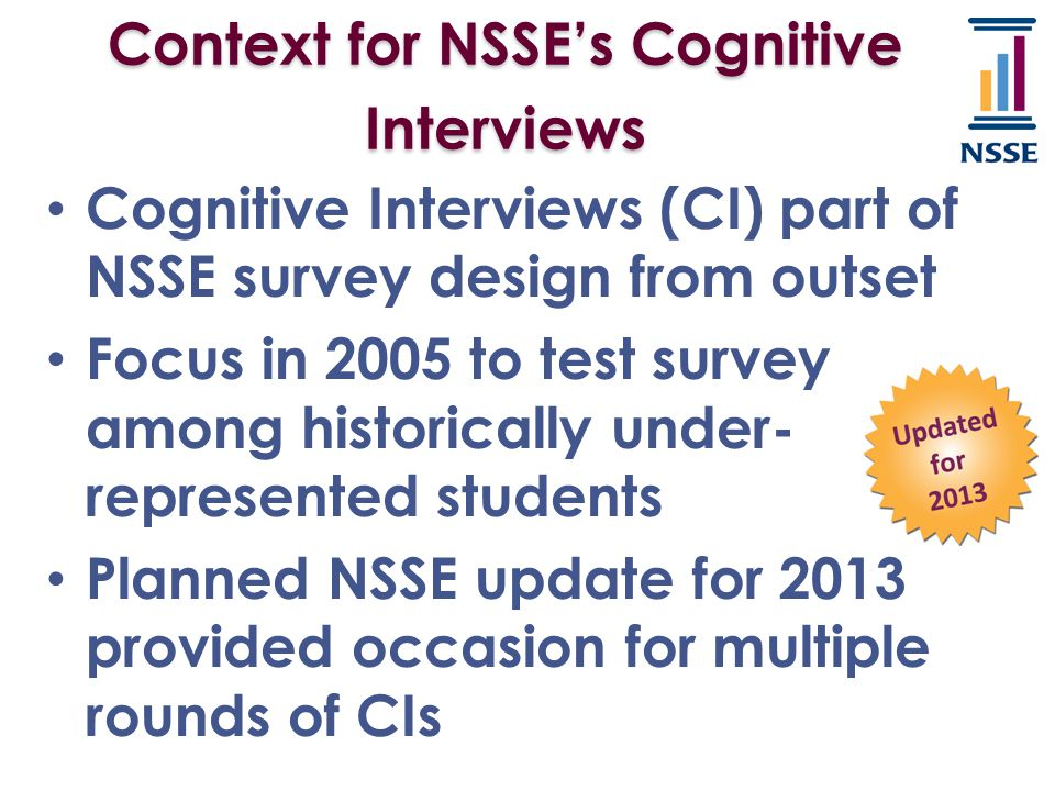 Context for NSSE's Cognitive Interviews Cognitive Interviews (CI) part of NSSE survey design from outset Focus in 2005 to test survey among historical
